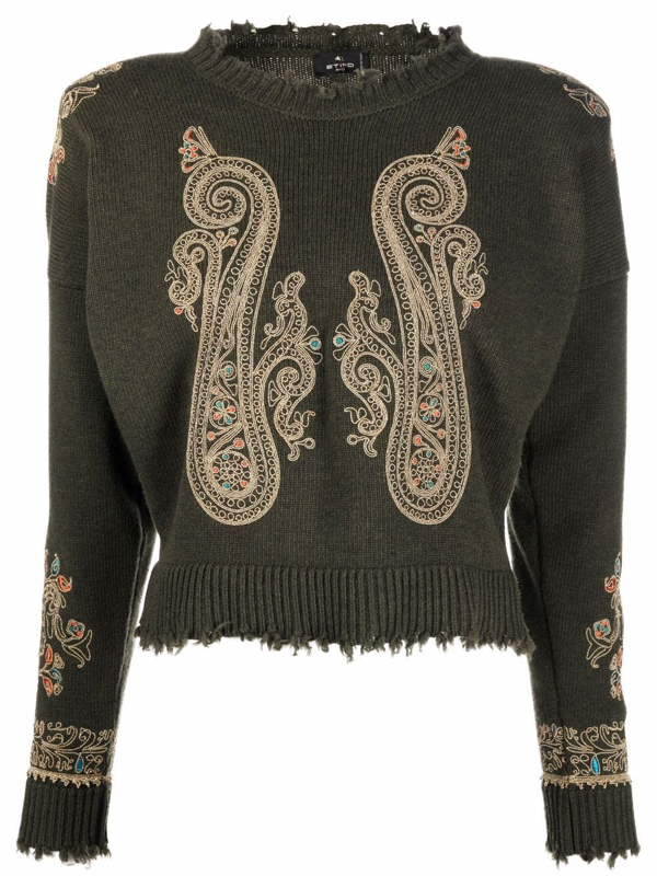 Etro Jumper With Ornamental Paisley Embroidery In Green
