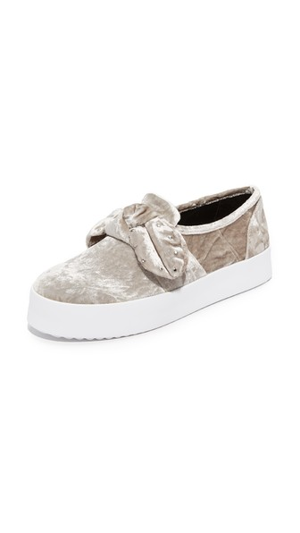 Rebecca Minkoff Women's Stacey Velvet Studded Bow Slip-on Sneakers In Putty