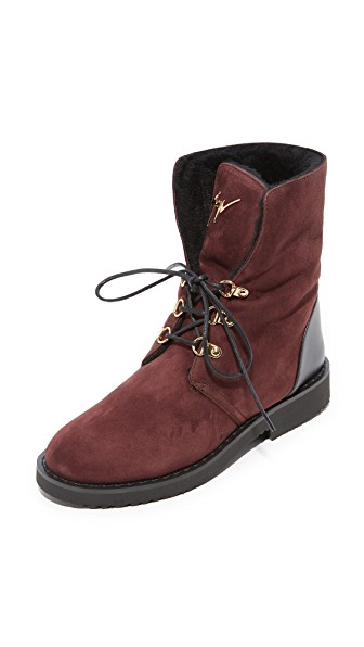Giuseppe Zanotti Lace Up Shearling Booties In Brown