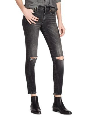 Polo Ralph Lauren Fade Distress Jeans In Washed Black