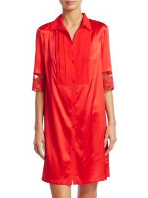 La Perla Camicia Notte Shirtdress In Red