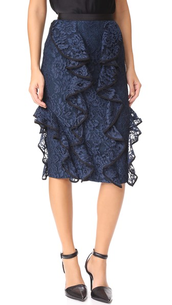 Alexis Lace Ruffle Pencil Skirt In Navy Lace