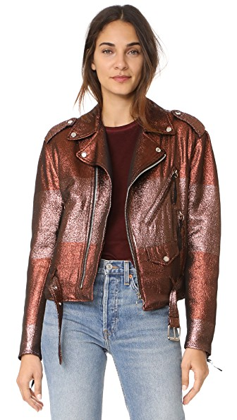 Adam Selman Moto Jacket In Metallic Blush