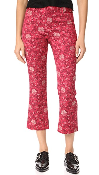 Alice And Olivia Stacey Crop Flare Print Pants In Fuchsia