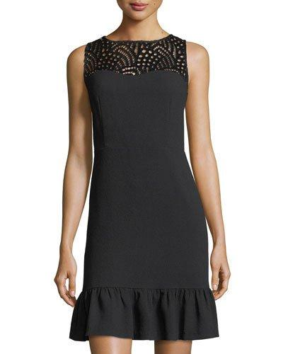Karl Lagerfeld Hammered Crepe Flounce Dress In Black