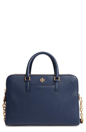 Tory Burch Georgia Double Zip Pebbled Leather Satchel - Blue In Royal Navy
