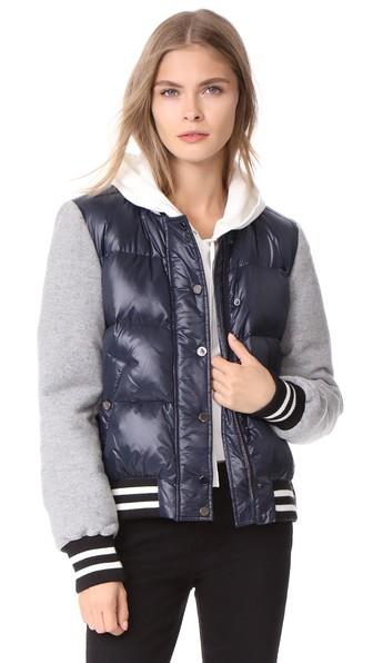 Veronica Beard Lennon Swing Puffer Jacket In Navy