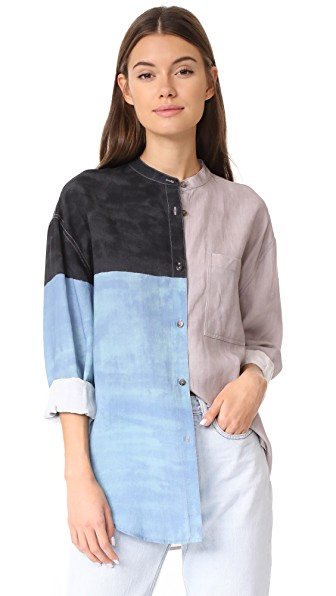 Mara Hoffman Zelda Button Down Shirt In Dune Multi