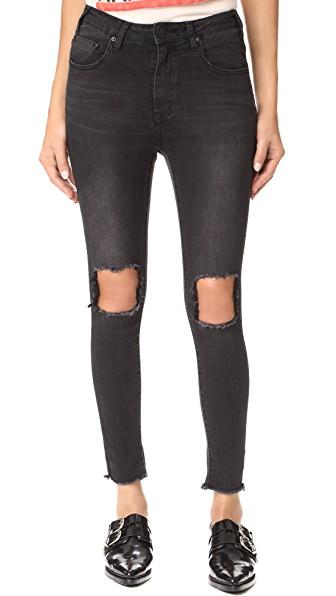 One Teaspoon High Waist Freebird Ii Jeans In Black Punk