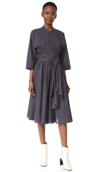 Tome Shirt Dress With Wrap In Black Check