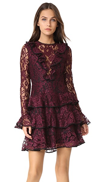 Alexis Tracie Lace Dress In Burgundy Lace