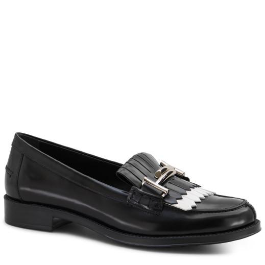 Tod's Moccasin In Leather In Black/white