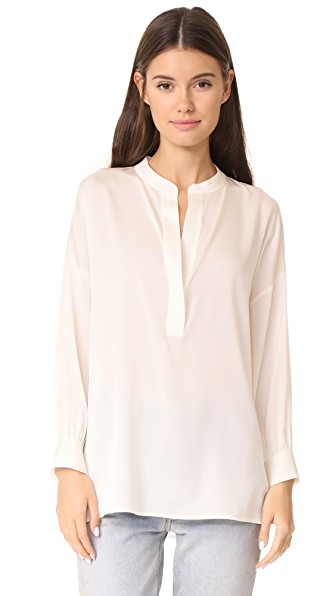 Vince Drape Bluse In Ivory