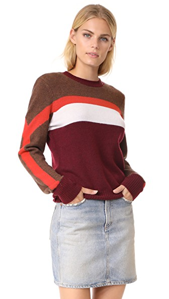 Frame Colorblocked Cashmere Sweater In Brown Multi