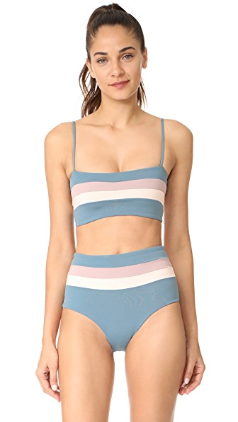 L*space Reversible Rebel Stripe Bikini Top In Slated Glass