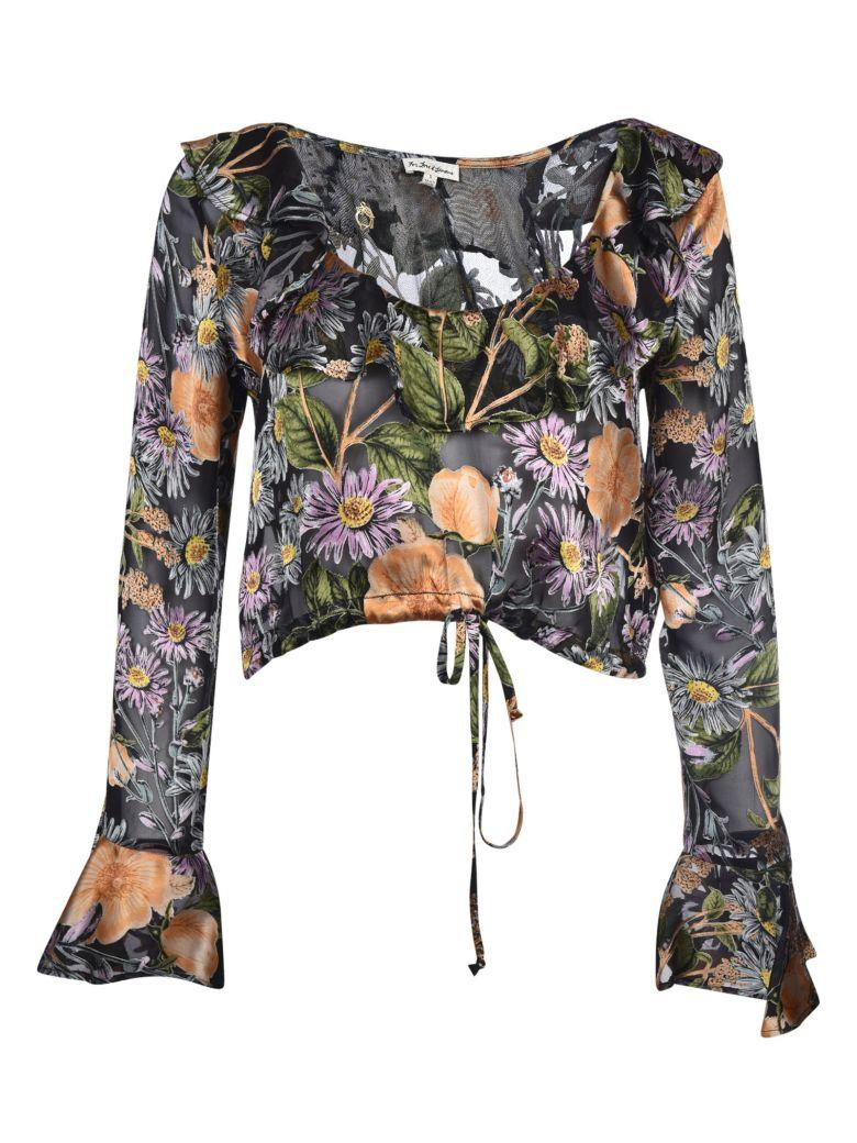 For Love & Lemons Luciana Ruffle Blouse In Multicolored