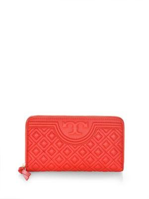 Tory Burch Fleming Zip Continental Leather Wallet In Red