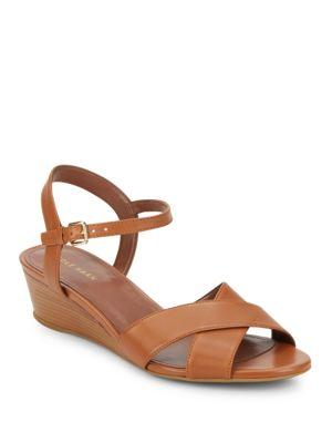 Cole Haan Elsie Leather Wedge Sandals In Acorn