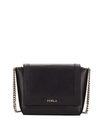 Furla Ginevra Mini Saffiano Leather Crossbody Bag In Black