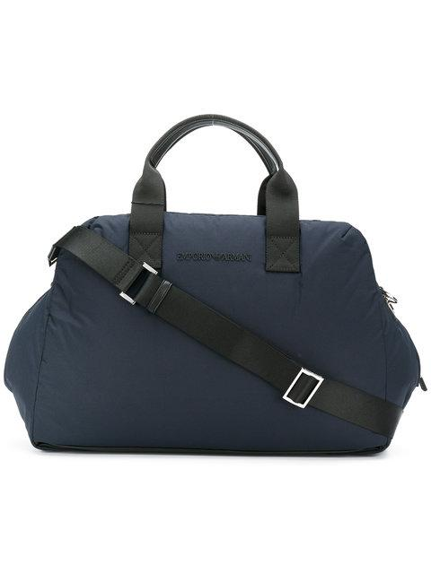 Emporio Armani Zipped Holdall In Blue