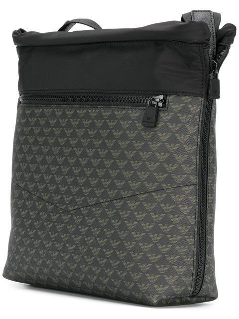 Emporio Armani Logo Print Messenger Bag In Black