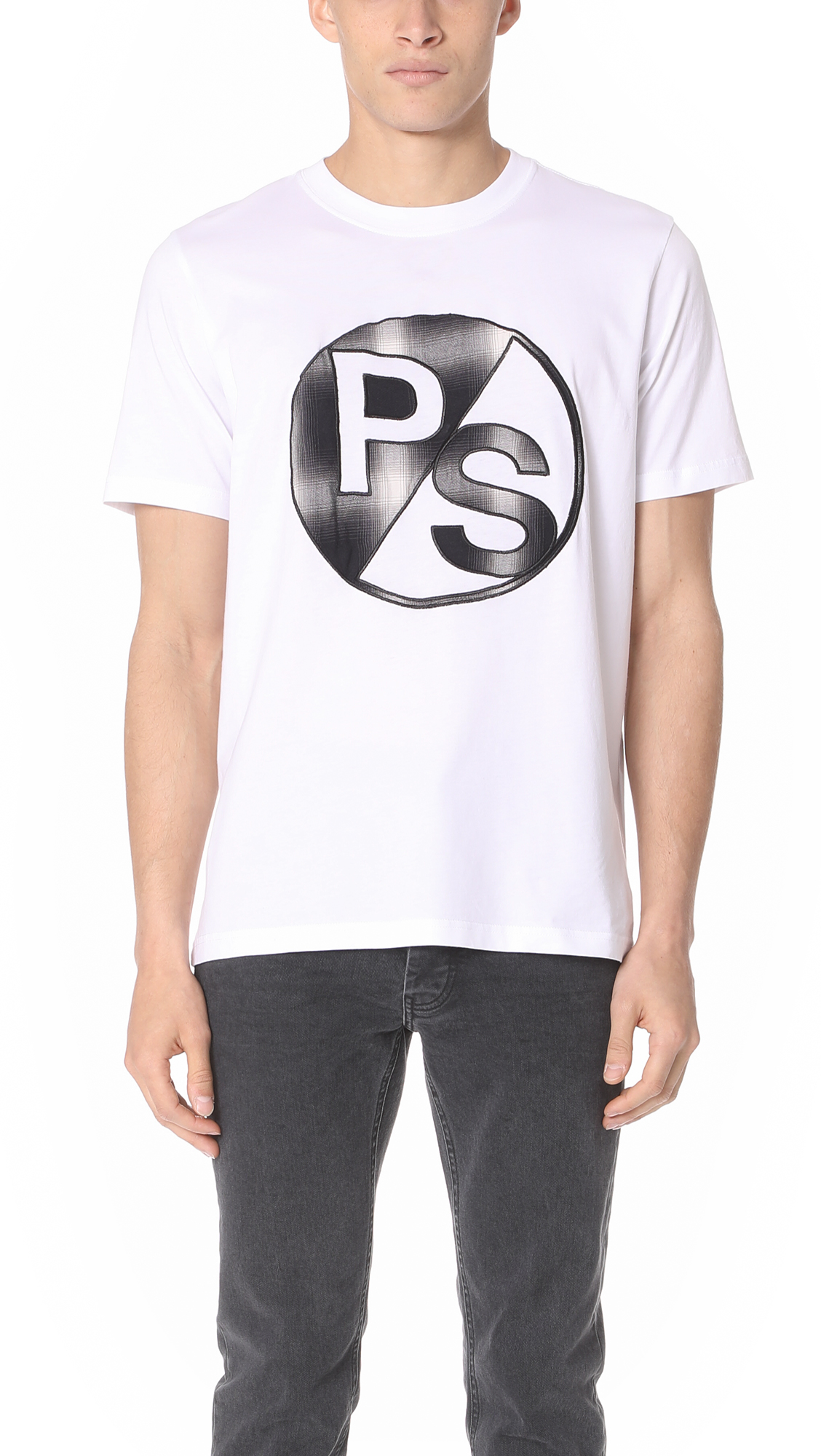 Ps By Paul Smith Regular Fit Tee With Ps Logo In White