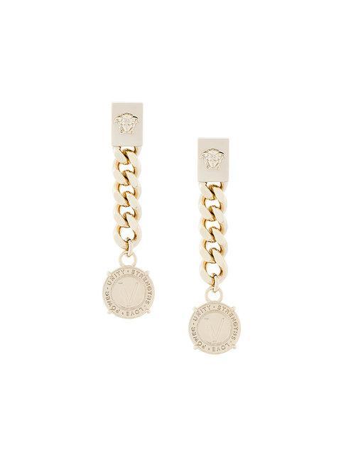 Versace Chain Medusa Logo Earrings