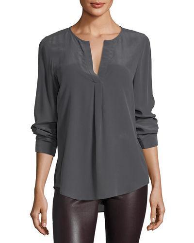 Joie Deon B Silk Top In Gray