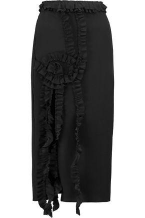 Rochas Woman Ruffle-trimmed Silk Midi Dress Black