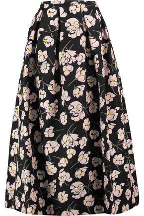 Rochas Woman Printed Cotton Midi Skirt Black