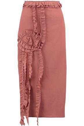 Rochas Woman Ruffle-trimmed Silk Midi Dress Brown