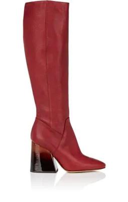 Maison Margiela OmbrÉ-Heel Leather Knee Boots In Bordeaux