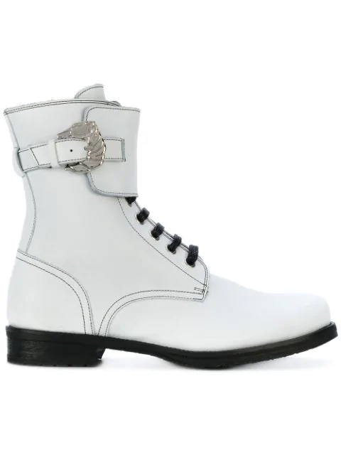 Dorateymur Woman Buckled Leather Ankle Boots White