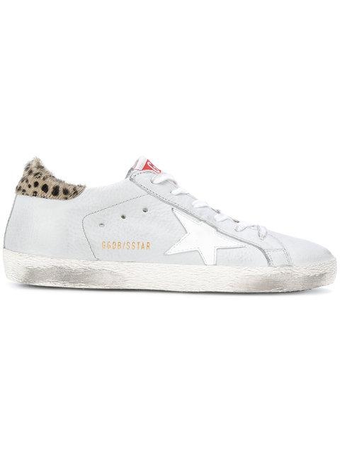 Golden Goose Leather Sneakers With Calf Hair In White