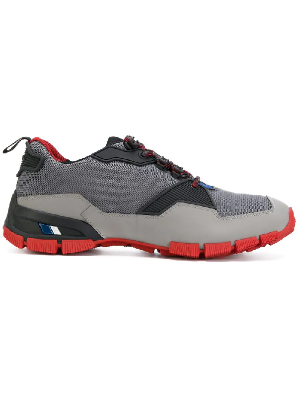 Prada Men's Mesh & Leather Trainer Sneakers In Multicolour
