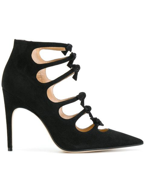 Sergio Rossi Strappy Bow Pointed Toe Pumps - Black