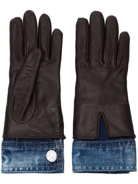 Dsquared2 Denim Detail Gloves In Brown