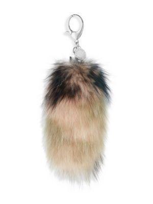 Rebecca Minkoff Camo Fox Tail Bag Charm In Pink Green