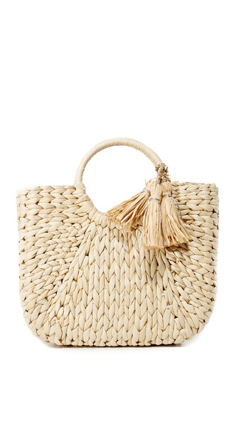 Hat Attack Small Round Handle Tote In Natural/silver