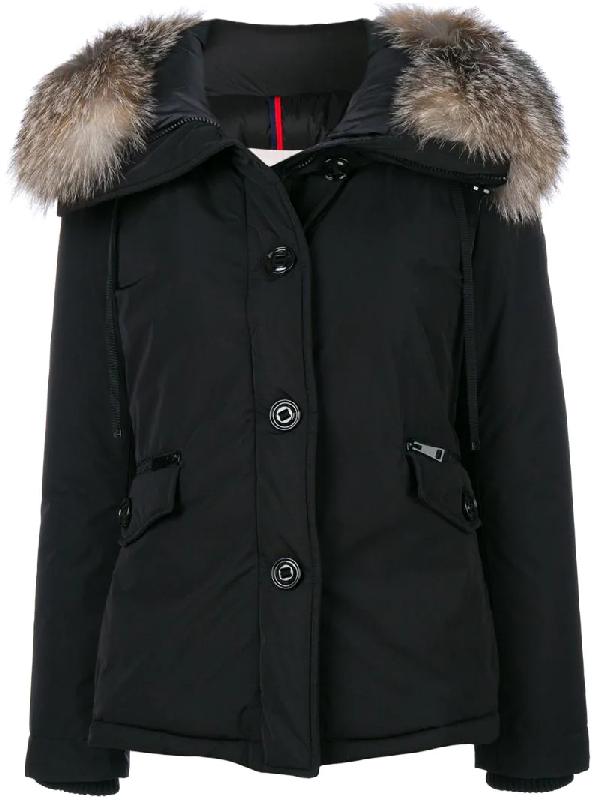 Moncler Malus Fur Trim Jacket In Black