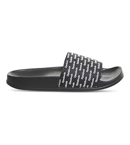 Reebok Classic Sliders In Black White