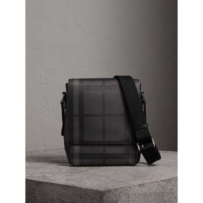 Burberry London Check Crossbody Bag In Charcoal/black
