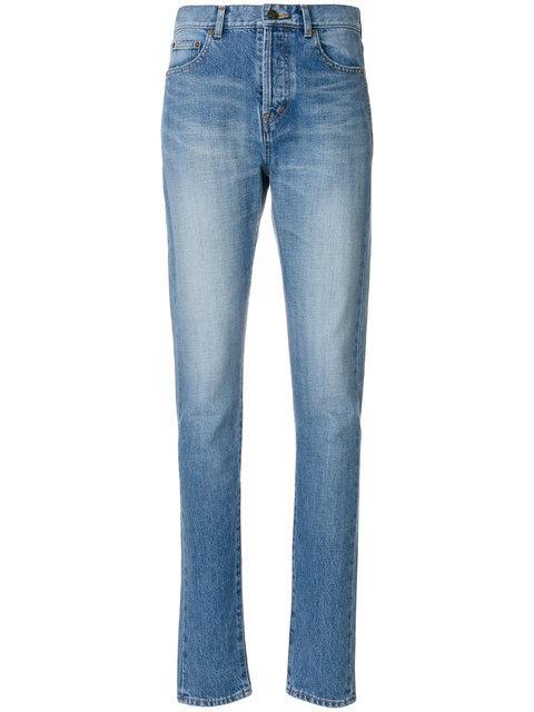 Saint Laurent Mid Rise Slim Fit Shadow Pocket Jeans In Blue