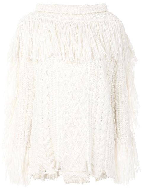 Philosophy Di Lorenzo Serafini Destroyed Alpaca Blend Knit Sweater In White