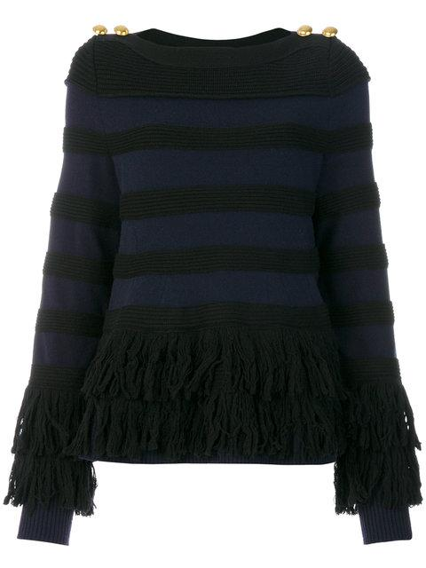 Sacai Wool Fringed Sweater In Blue