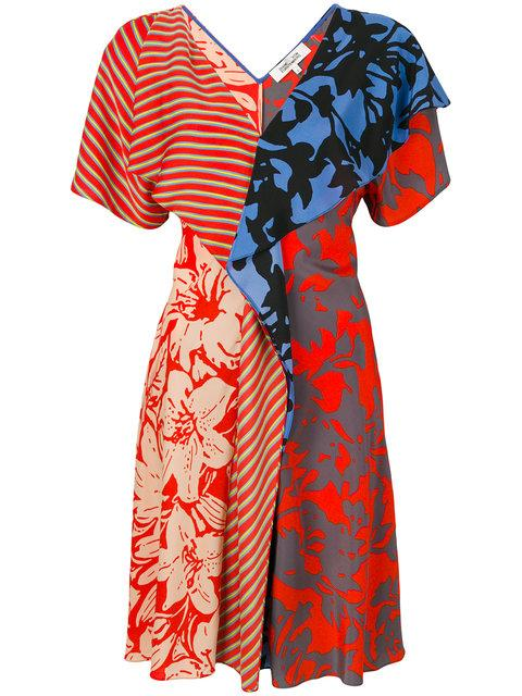 Diane Von Furstenberg Printed Ruffle Maxi Dress In Blue