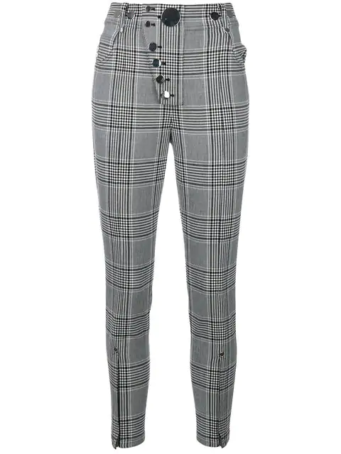 Alexander Wang Check Skinny Cropped Trousers In Black/ White