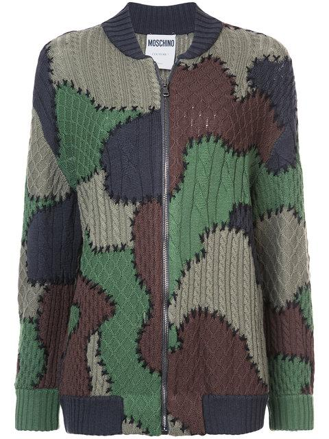 Moschino Patchwork Knitted Bomber Jacket In Green