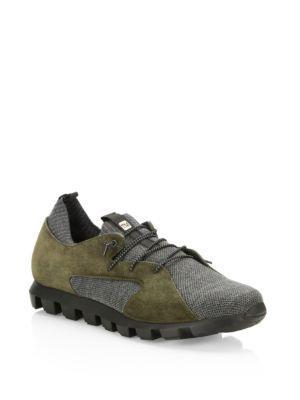 Z Zegna Techmerino Suede Sneakers In Green