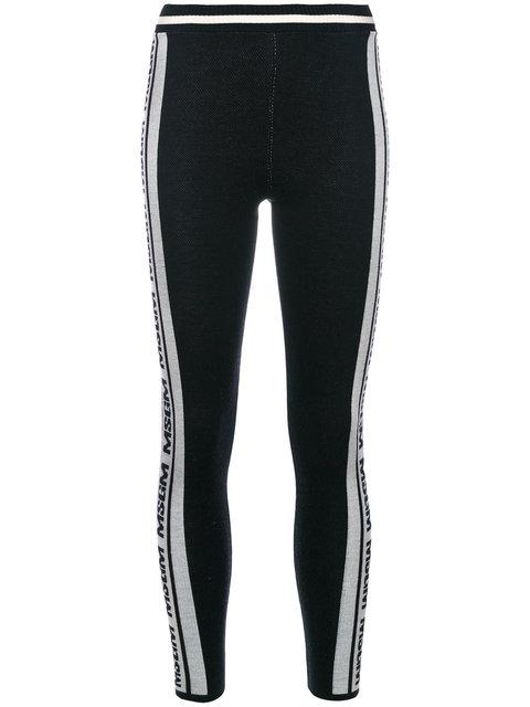 Msgm Logo Stripe Leggings In Black-white